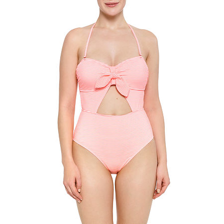 Arizona Seersucker Striped One Piece Swimsuit Juniors, Large , Pink