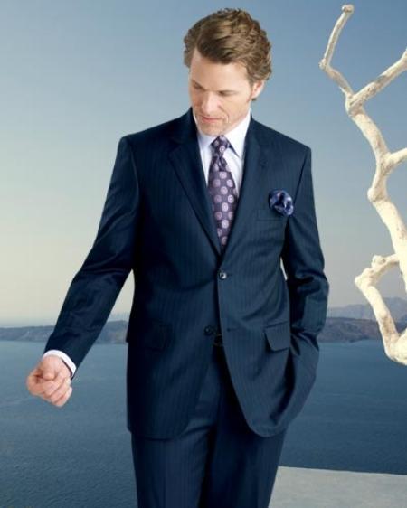 2 Btn Stripe Flat Front Pants Side Vents Pick Stitch Supers Suit Navy