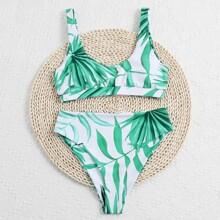 Palm Print High Waisted Bikini Swimsuit
