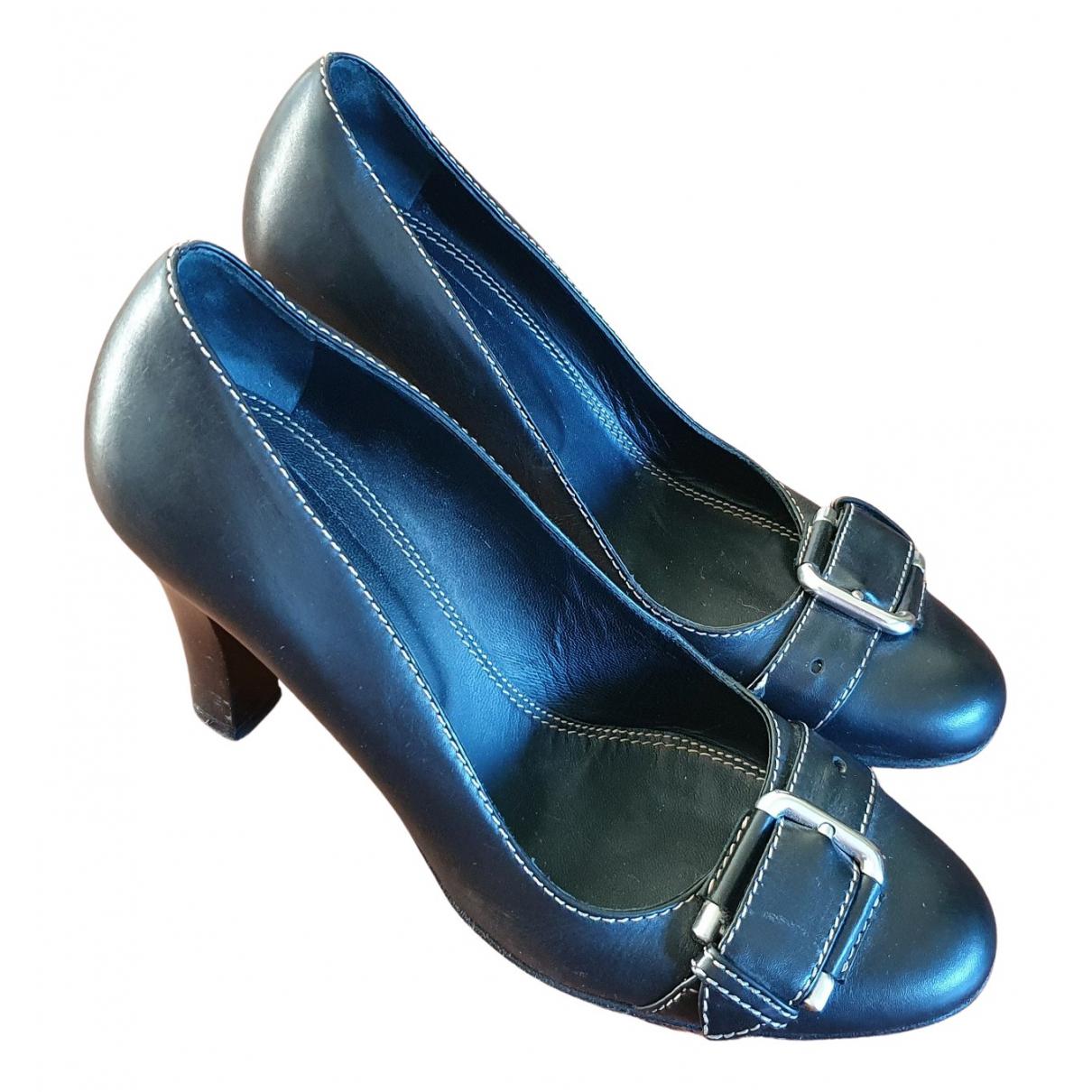Bally N Black Leather Heels for Women 38 EU