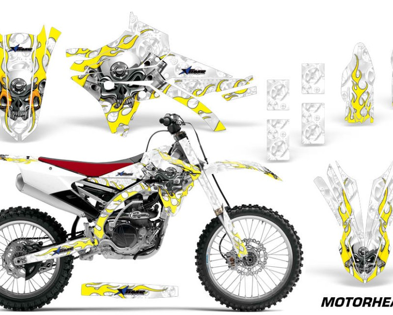 AMR Racing Dirt Bike Graphics Kit Decal Sticker Wrap For Yamaha YZ250F YZ450F 2014-2017áMOTORHEAD WHITE