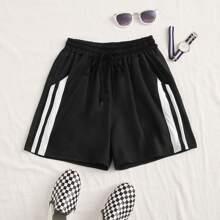 Stripe Tape Drawstring Track Shorts