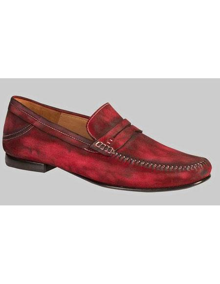 Mens Red Antiqued Italian Moc Toe Loafer Shoes Authentic Mezlan Brand