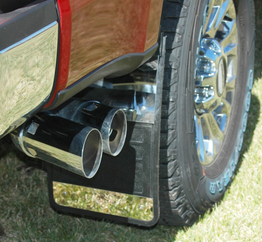 Owens Products 86RF201S Mud Flaps Classic Universal Single Rear Wheel Rubber Mudflaps / Stainless Steel Inserts / Universal Fit / 12 x 18 /