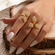 1 pieza anillo con diseño de hoja grabada con diamante de imitacion