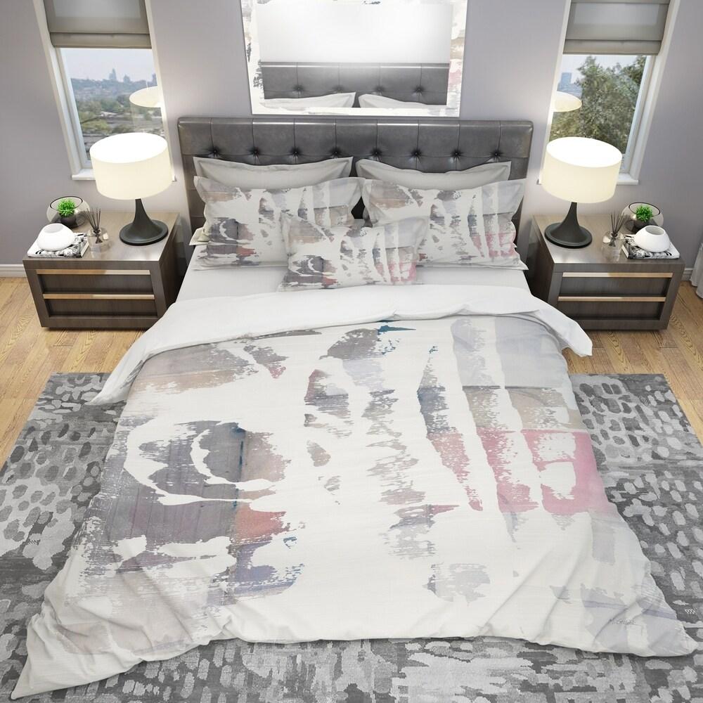 Designart 'White Out Geometric' Geometric Bedding Set - Duvet Cover & Shams - Multi-color (Twin Cover + 1 sham (comforter not included))