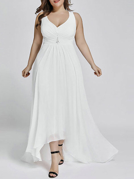 Milanoo Plus Size Bridesmaid Dress Chiffon A Line Vneck Asymmetrical Prom Dress Wedding Party Dresses
