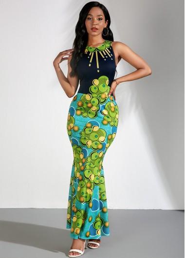 Rosewe Women Green Tribal Print Sleeveless Mermaid Hem Cocktail Party Dress Sheath Elegant Maxi Dress - XL