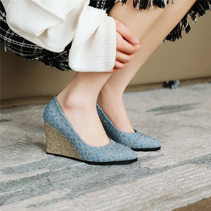 Ericdress Pointed Toe Slip-On Wedge Sandals