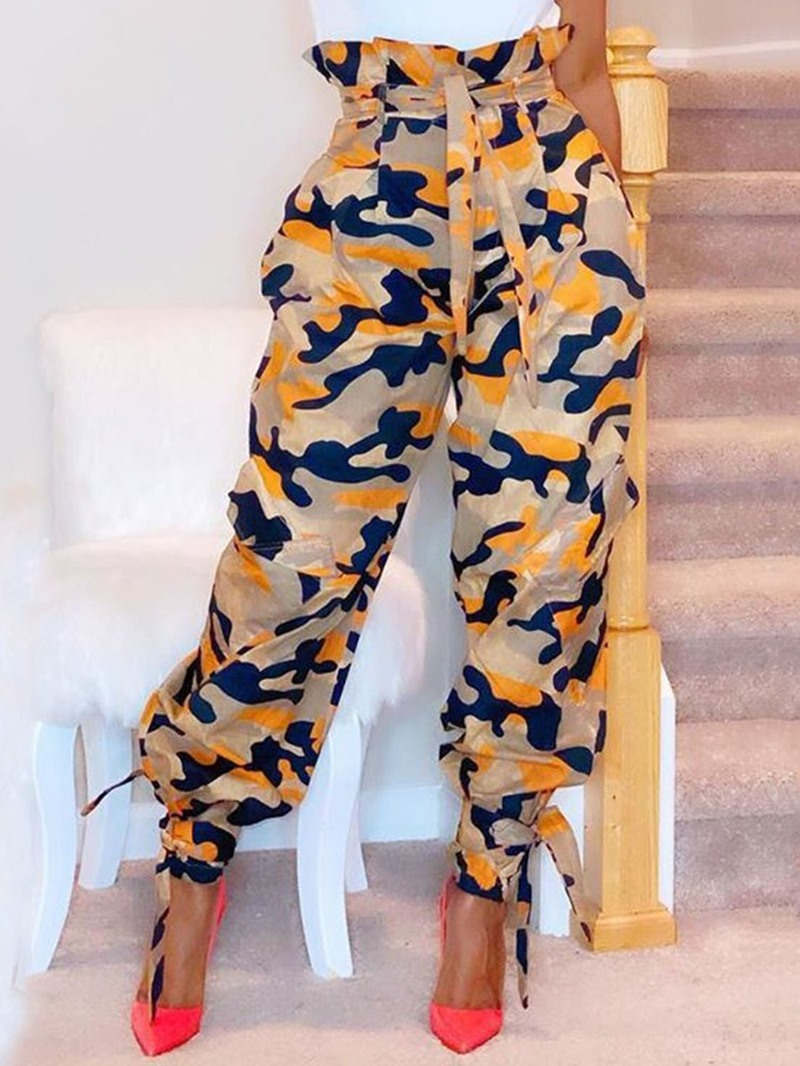 Ericdress Camouflage Slim Lace-Up Mid Waist Ankle Length Casual Pants
