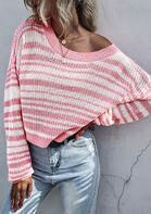 Striped Knitted O-Neck Sweater - Pink