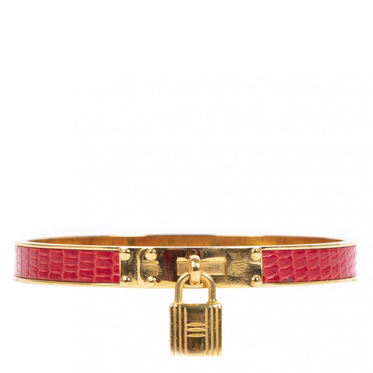 Hermes - Bracelet Kelly pour femme en lezard - bordeaux