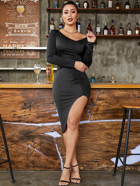 YOINS Slit Design V-neck Long Sleeves Ruched Dress