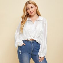 Plus Sheer Button Up Blouse Without Bra