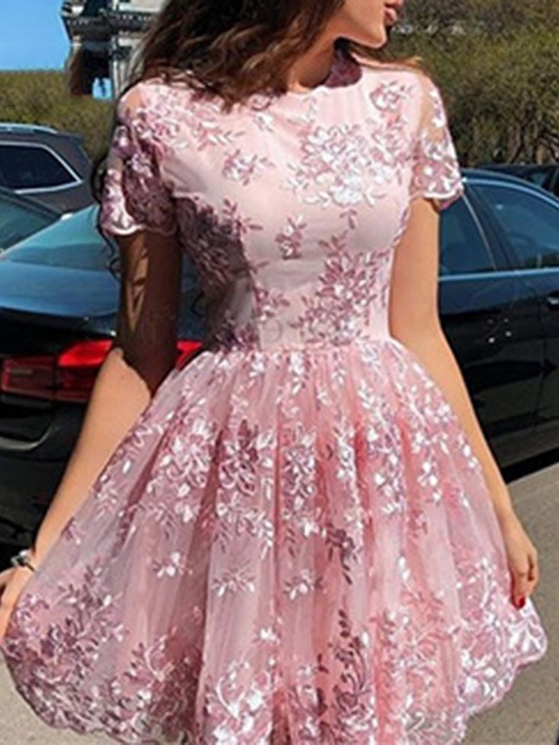 Ericdress Round Neck Embroidery Above Knee Regular Floral Dress