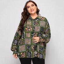 Bluse mit Knopfen vorn und Flicken Muster