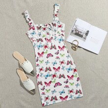 Butterfly Print Knotted Ruched Bust Dress