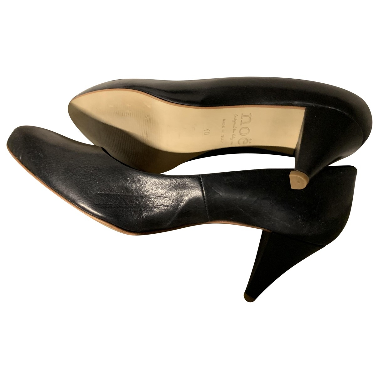 Non Signé / Unsigned \N Black Leather Heels for Women 40 EU