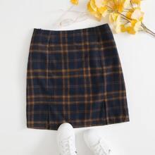 Plus M-slit Hem Tartan Skirt
