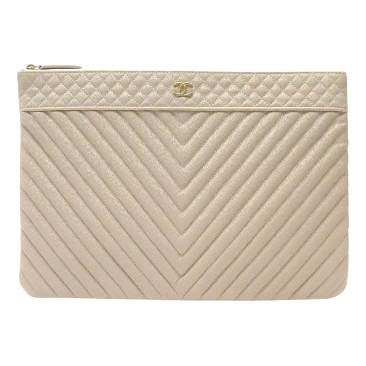 Chanel - Pochette   pour femme en cuir - beige