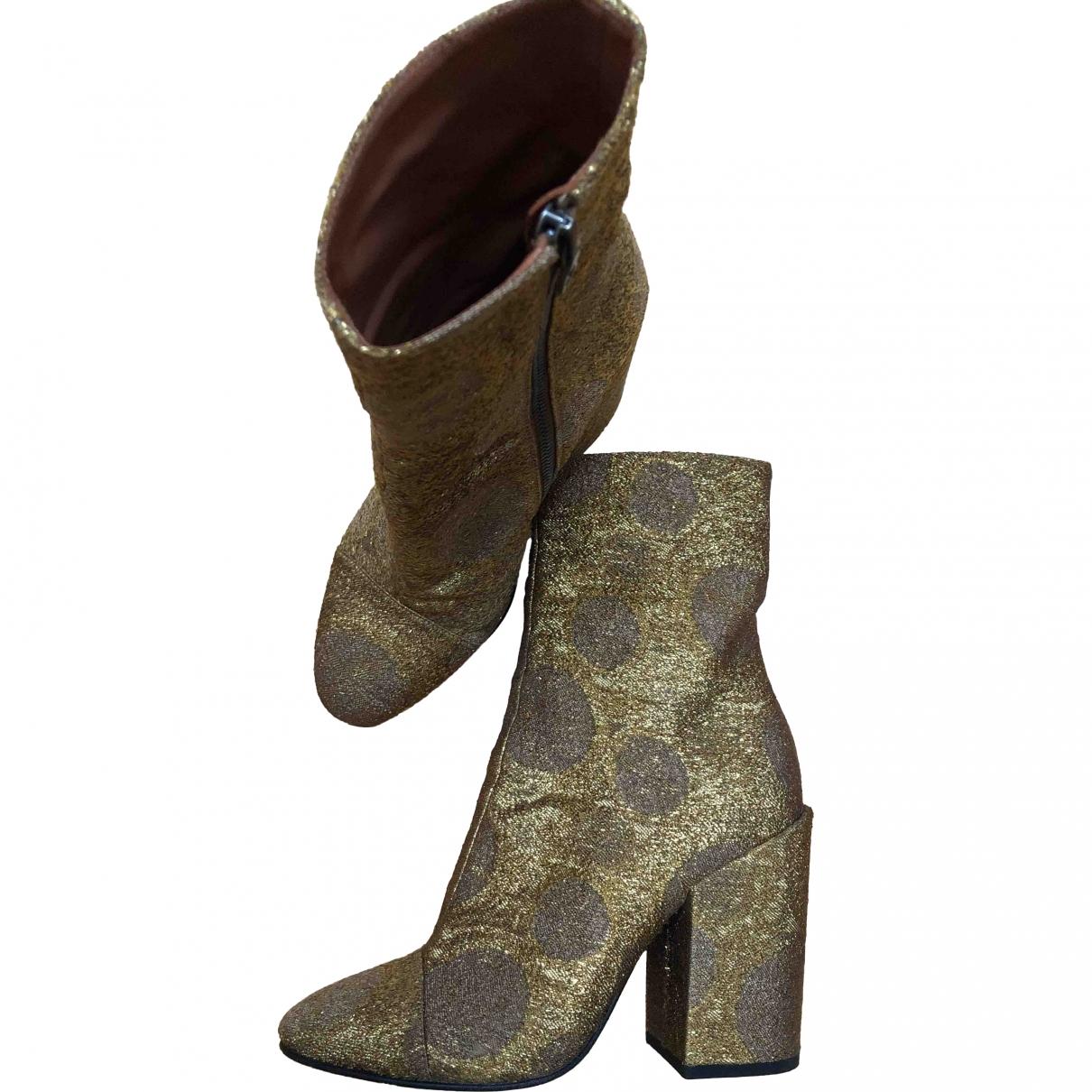 Dries Van Noten \N Gold Cloth Ankle boots for Women 37 EU