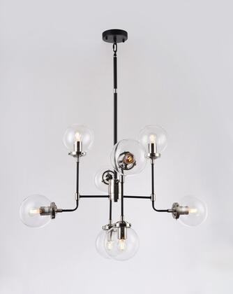 DU93 8-Light Ceiling Fixture with Steel and Glass Materials and 40 Watts in Polished Nickel and Black