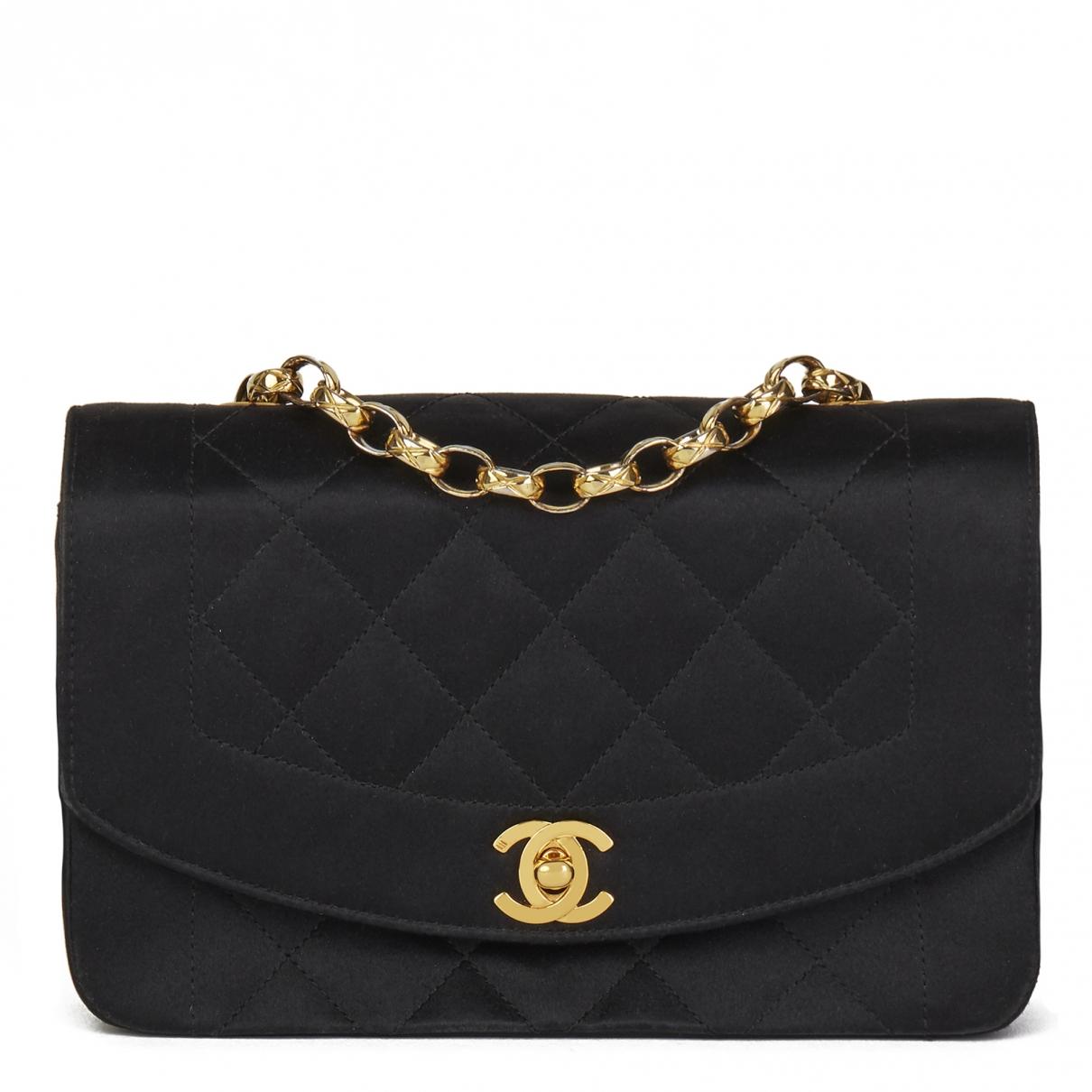 Chanel - Sac a main Diana pour femme en toile - noir