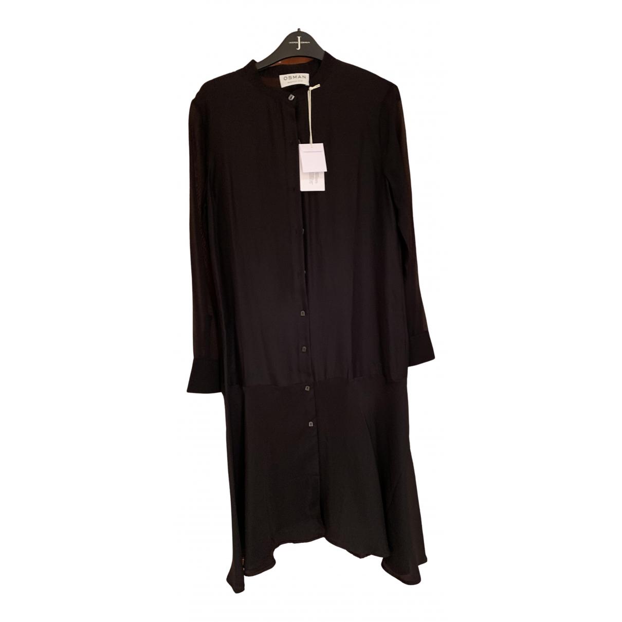 Osman London \N Kleid in  Schwarz Seide