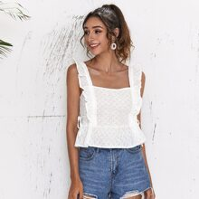 Ruffle Trim Knotted Side Schiffy Top