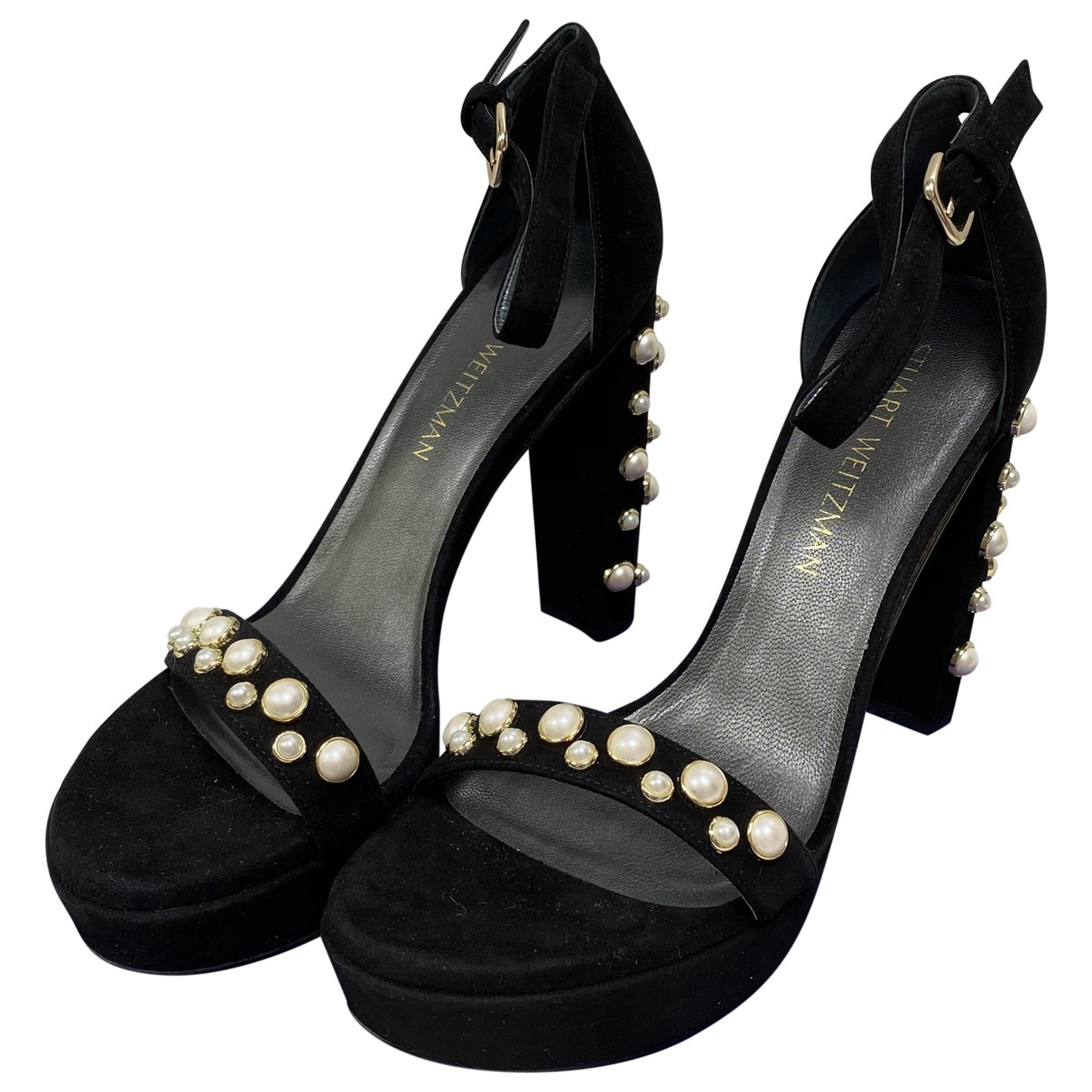 Stuart Weitzman \N Black Suede Sandals for Women 39.5 EU