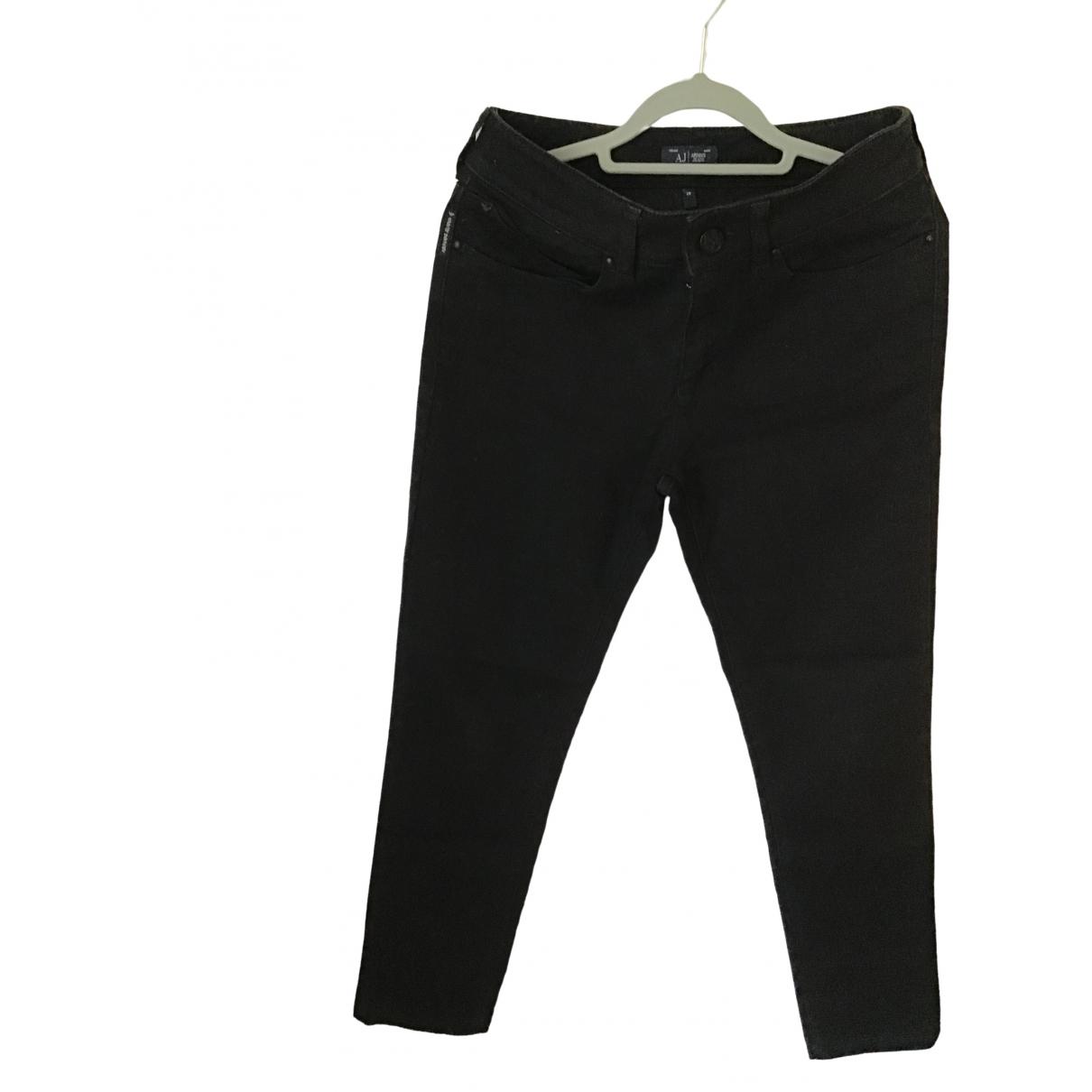 Armani Jeans \N Black Cotton Trousers for Women 36 FR