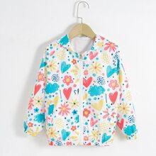 Toddler Girls Heart & Floral Print Zip-up Hooded Jacket