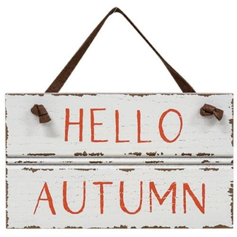 Hello Autumn Sign w/ Suede Hanger - Pictured (Pictured)