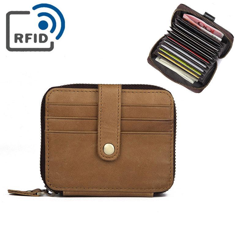 RFID Men Genuine Leather 15 Card Slot Card Holder Vintage Coin Purse