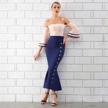 Adyce Two Tone Mermaid Hem Bardot Dress