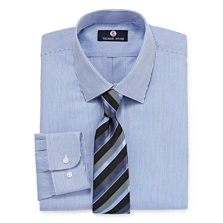 Thomas Stone Shirt And Tie Set Big And Tall Mens Point Collar Long Sleeve Shirt + Tie Set, 18-18.5 38-39, Blue