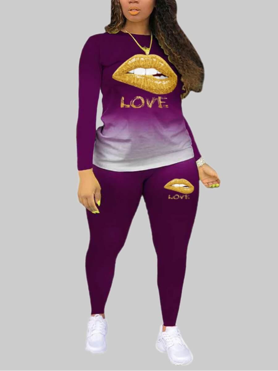 LW Lovely Casual Lip Print Purple Plus Size Two-piece Pants Set