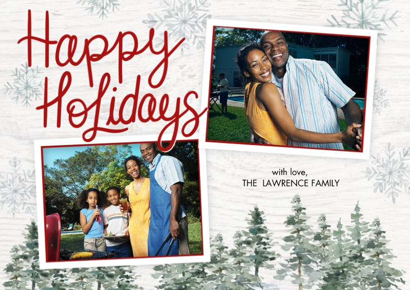 Holiday Photo Cards Flat Matte Photo Paper Cards with Envelopes, 5x7, Card & Stationery -Holiday Evergreens by Tumbalina