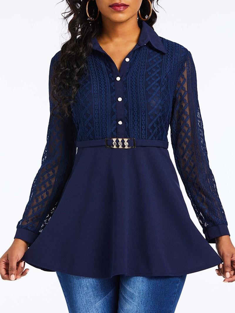 Ericdress Regular Lace Lapel Long Sleeve Mid-Length Blouse