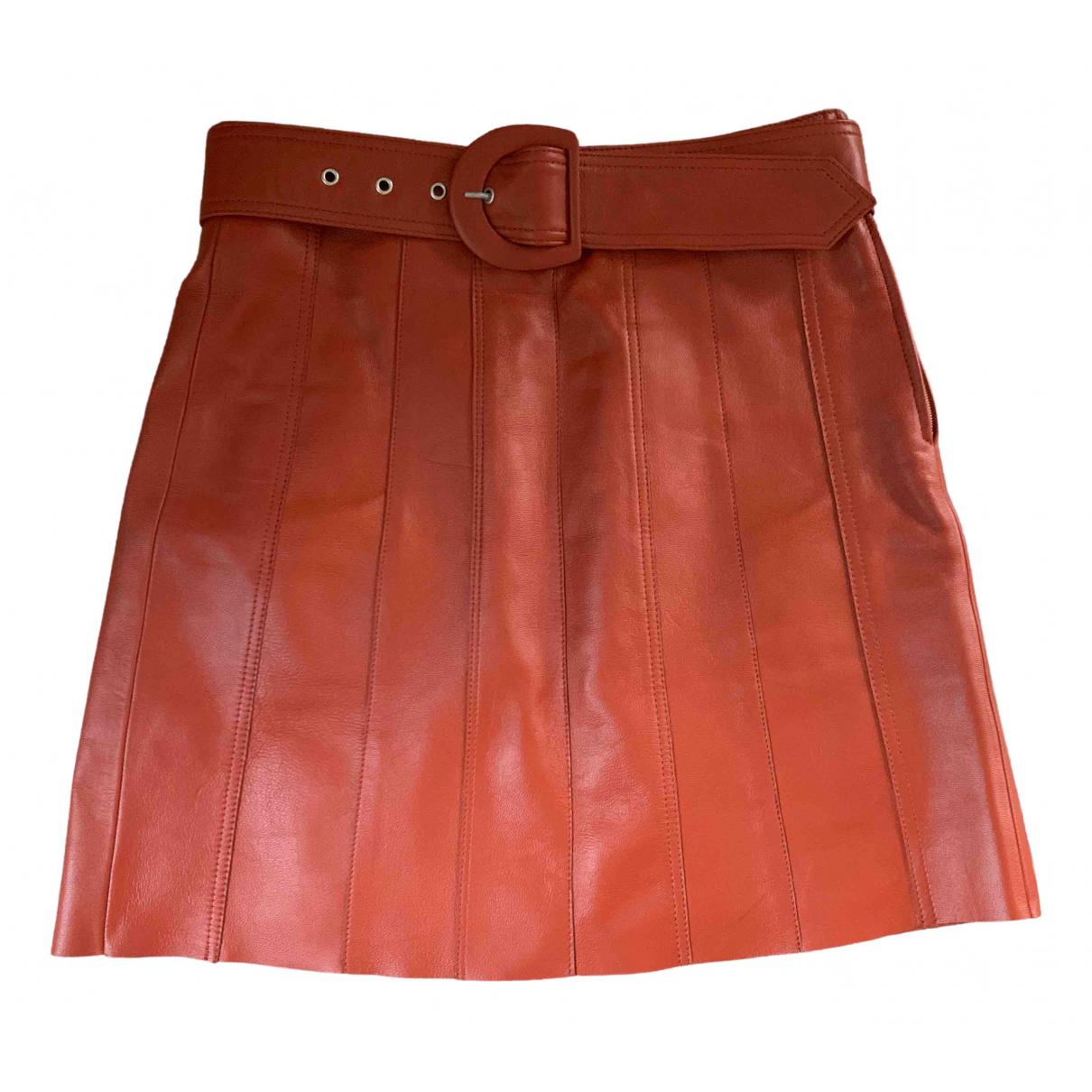Sandro Spring Summer 2019 Orange Leather skirt for Women 38 FR