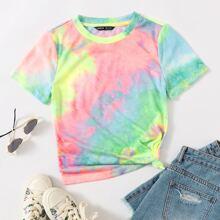 Camiseta de manga corta de tie dye
