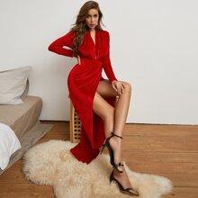 Vestidos Abertura alta Liso Elegante