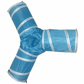 Pet Life 3-Way Kitting-Go-Seek Interactive Collapsible Passage Kitty Cat Tunnel (Blue/White)