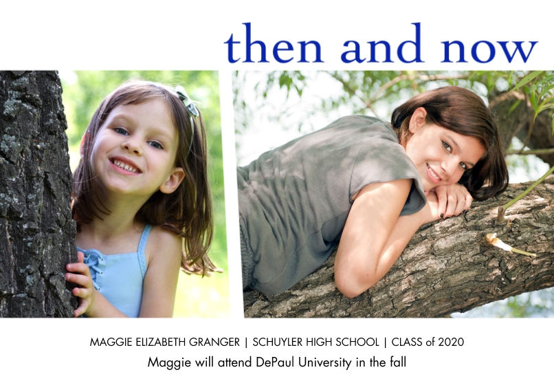 Graduation Announcements 5x7 Cards, Premium Cardstock 120lb with Elegant Corners, Card & Stationery -Then And Now by Well Wishes