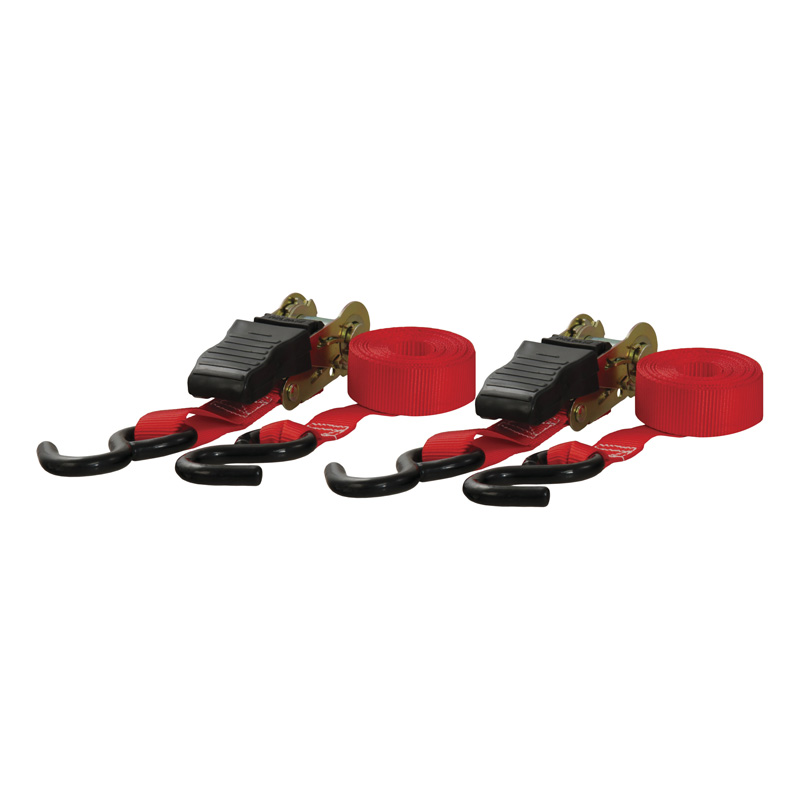 Curt 83001 10' Red Cargo Straps with S-Hooks (500 lbs., 2-Pack)