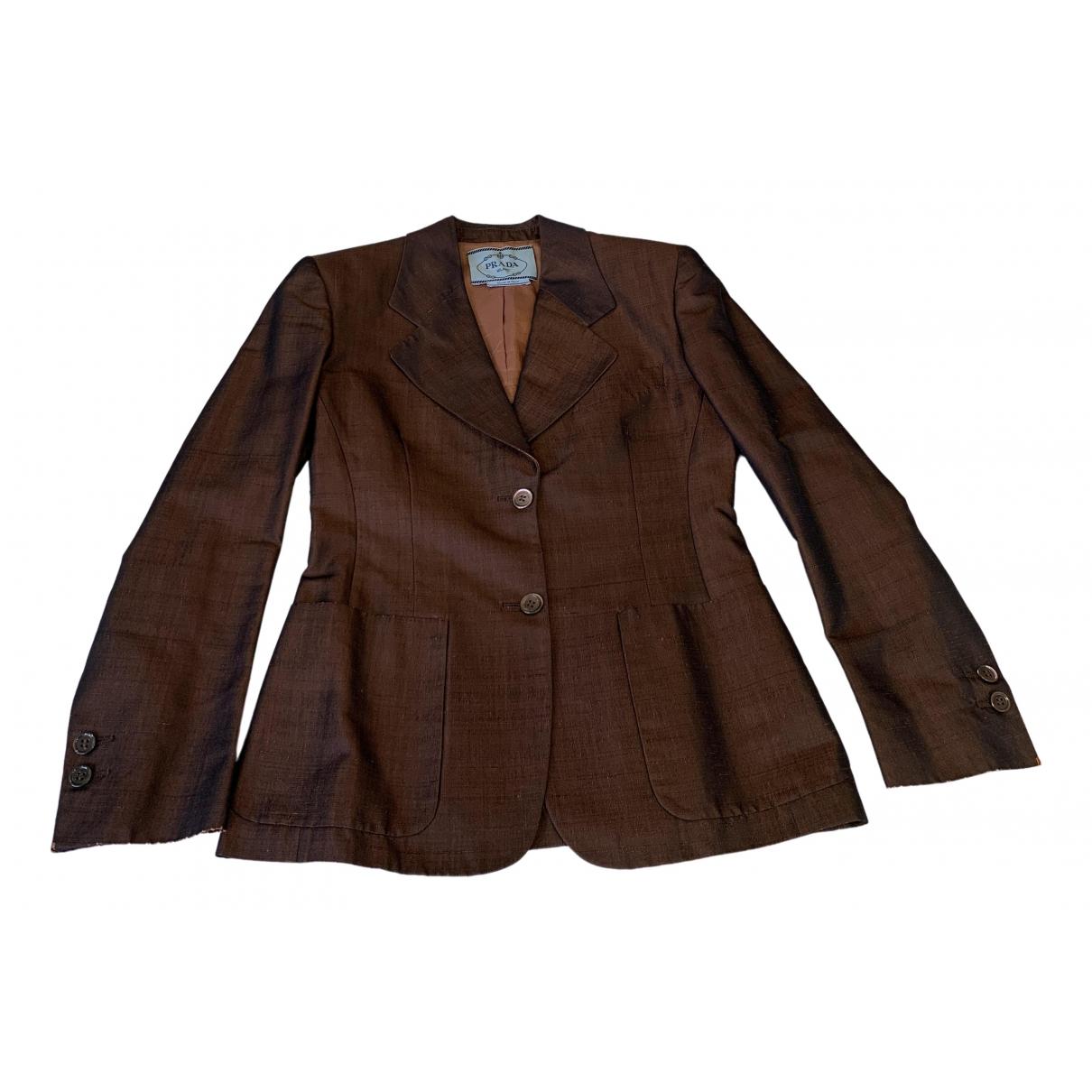 Prada \N Brown Silk jacket for Women 42 IT