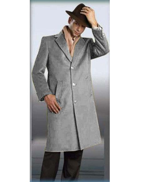 Mens Authentic Silver Grey Alberto Nardoni Brand Full Length Topcoat