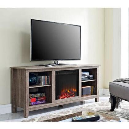 W58FP18AG 58 Driftwood TV Stand with Fireplace