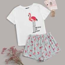 Slogan and Flamingo Print Tee and Shorts PJ Set