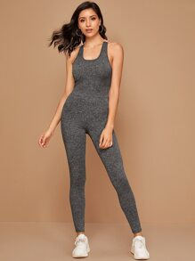 Crisscross Back Fitted Marled Jumpsuit